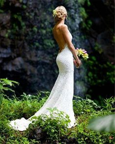 Mermaid Wedding Dresses Backless Lace Spaghetti Beach Wedding Dress