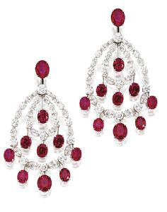 WHITE GOLD, RUBY AND DIAMOND PENDANT-EARCLIPS, CHOPARD. Sotheby's.