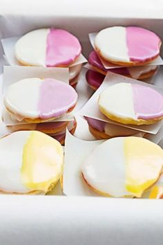 This pretty, pastel twist on classic black-and-white cookies is just as delicious as the original version, but looks perfect for a seasonal spring celebration. Get the Mini Black and White Cookies recipe >> Bake Sale Treats, Bake Sale Recipes, Cookie Recipes, Baking Recipes, Dessert Recipes, Drink Recipes, Easy Easter Recipes, Easy Easter Desserts, Easter Cookies