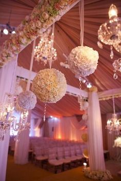 Flower Crystal Pom Poms...make this but use coffee filters and hang above your back drop or above food table...