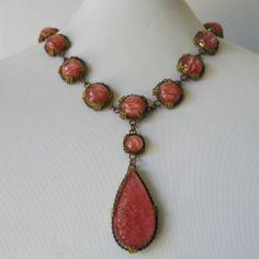 Vtg 1920's Art Deco Pink Molded Glass Large Pendant Necklace | eBay