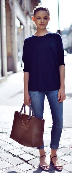 blue sweater + cropped jeans + sandals