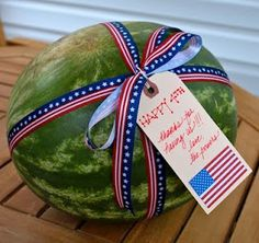 Cute idea to take to a bbq for the hostess. Watermelon.