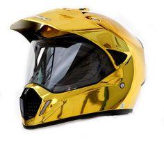 Masei 310 Gold Chrome ATV Motocross KTM Helmets - sales@maseihelmet...