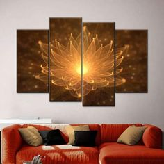 Lotus Lights Multi Panel Canvas Wall Art adds a botanical touch to your space. Soften your walls and refresh your decor with this beautiful lotus flower canvas print that is sure to give the right pop of color. Massage Room Design, Massage Room Decor, Meditation Room Decor, Relaxation Room, Massage Room Colors, Meditation Space, Light Wall Art, Wall Art With Lights, Home Decor Wall Art