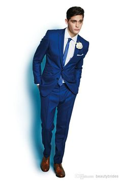 2014 Fashion Trend Newest Style Italy Royal Blue Custom Made Men's Suit One Button Groom Suits/Tuxedo Jacket Pants Pageant Party Best Man Wedding, Wedding Men, Wedding Suits, Wedding Styles, Groomsmen Suits, Mens Suits, Red Prom Tuxedo, Costume Bleu Royal, Wedding Morning Suits