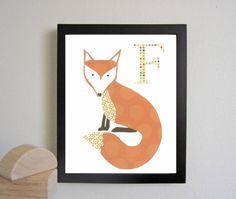 Nursery Art Print Letter F F is for Fox Baby Nursery by justbunch, $17.00