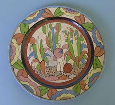 """Vintage Mexican Tlaquepaque petatillo plate w/man & cacti 10 1/2"""" diam."""