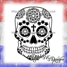 Sugar skull cutting file studio3 dxf JPG PNG by DutchSVGDesigns