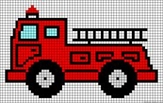 Fire truck perler bead pattern Cross Stitch Baby, Cross Stitch Patterns, Cross Stitch Designs, Cross Stitch Charts, Perler Patterns, Knitting Charts, Fire Truck, C2c Crochet, Filet Crochet