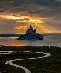 Golden Sunset Over Mont Saint Michel Island, Normandy France