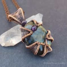 Labradorite Pendant Wire Wrapped Pendant Copper Wire Wrap