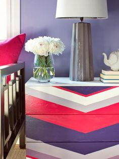 Give a basic chest of drawers designer flair with a painted chevron pattern in three, five or seven of your favorite paint colors.