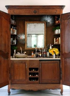 An armoire repurposed as bar cart. Shine Your Light: Beverage Centers Beyond Built Ins and Bar Carts Armoire Bar, Kitchen Armoire, Jewelry Armoire, Cupboard, Bar Furniture, Furniture Makeover, Armoire Makeover, Furniture Design, Vintage Furniture
