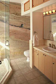 Rammed Earth Wall Construction - bathroom