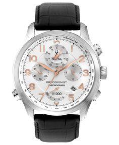 Bulova Men's Chronograph Precisionist Black Leather Strap Watch 39mm 96B182