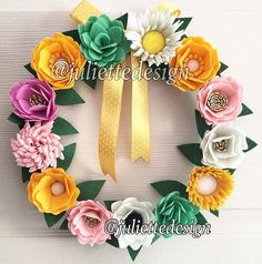 This beautiful wreath is perfect for all season as a gift or home decor. Each felt flower is hand cut and made with great care and love. It measure approximately 30 cm and if requested I can make it bigger or smaller. Unless I mention, All products are made to order, so there would be slight differencies with your purchase.