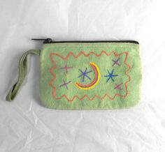 Vintage suede zippered pouch change purse make up by FeliceSereno, $10.00