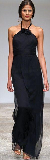 Amsale Silk Black Dress