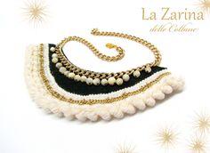 """Collana verde bianco e oro con perle """"Orietta"""" - A white and green statement necklace with small pearls and special trim from La Zarina delle Collane designs"""