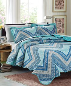 Love this Blue Lana Reversible Quilt Set by Glory Home Designs on #zulily! #zulilyfinds
