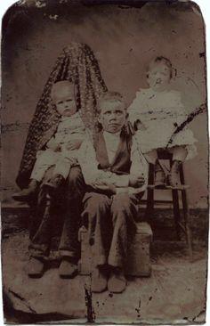 ca. 1880's, [portrait of three children and a hidden figure]