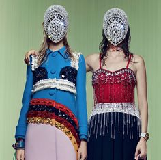 Vanessa Axente in Prada patchwork wool coat with embellished crystals & Amanda Murphy in Miu Miu showgirl crystallized top, photographed by Craig McDean for Vogue US January 2014