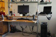 Split level jerker desk desk ikea hackers desks