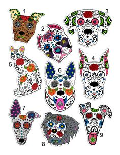 These fun & playful sugar skull stickers are sure to brighten your day every time you see them! Made with bright, fun colors & laminated over a Sugar Skull Tattoos, Dog Tattoos, Sugar Skull Artwork, Candy Skulls, Sugar Skulls, Dog Skull, How To Make Stickers, Day Of The Dead Skull, Posca