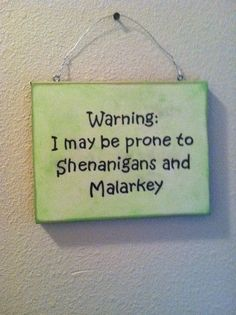 Funny Wall Sign St Patrick& Day Irish Gift Irish Humor Wall Decor Malarkey and Shenanigans! USD) by TuckersMercantile St Pattys, St Patricks Day, Irish Quotes, Irish Blessing, St Paddys Day, Luck Of The Irish, Christmas Humor, Wall Signs, Decoration