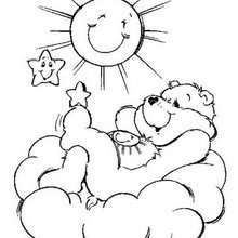 Funshine Bear coloring page - Coloring page - CHARACTERS coloring pages - TV SERIES CHARACTERS coloring pages - CARE BEARS coloring pages - FUNSHINE BEAR