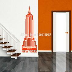 Free shipping EMPIRE STATE BUILDING USA NEW YORK America Vinyl wall art room sticker decal / Vinyl Wall Stickers