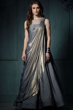 Buy Grey & Gold Lycra Applique Embroidered Saree Online Best Picture For Blouse dress For Your Taste You are looking for something, and it is going to tell you exactly what you are looking for, and yo Stylish Dresses, Fashion Dresses, Formal Dresses, Indian Designer Outfits, Designer Dresses, Long Gown Dress, Dress Skirt, Party Kleidung, Saree Gown