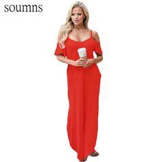 05a7bc13015037 Soumns Nieuwe Zomer Plus Size Strand Jurken Hol Jurk Vestidos Lange Sexy  Zwarte Sassy Open Schouder Maxi Jurk SY61588-in Dresses from Women s  Clothing ...