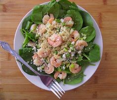 Warm Shrimp, Quinoa & Spinach Salad from Poor Girl Eats Well (http://punchfork.com/recipe/Warm-Shrimp-Quinoa-Spinach-Salad-Poor-Girl-Eats-Well)