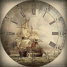 The Cottage Wren Clock Craft, Diy Clock, Clock Face Printable, Printable Paper, Watercolor Card, Retro Poster, Old Clocks, Nautical Art, Vintage Maps