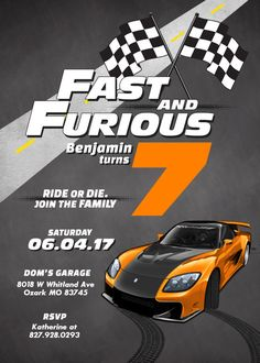 Race Car Fast and Furious Birthday Invitation by PositivelyParty