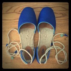 Ugg Libbi Ankle Strap Espadrilles Ugg calf hair espadrille with Uggpure (wool and polyester) partial lining in the heel. Beautiful blue color. Perfect for spring! UGG Shoes Espadrilles