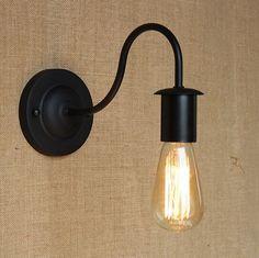 Simple & Modern Industrial Vintage Black Iron Wall Lamp Loft Style Curve Arm Hallway Retro Wall Light Free Shipping