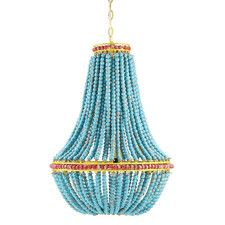 Creative Co-op Blue & Red Wood Beaded Chandelier with Yellow Accents - Just what I needed. Pleased with the quality.This Creative Co-op that is ranked 90 Wood Bead Chandelier, Blue Chandelier, Empire Chandelier, Chandelier Lighting, Chandelier Creative, Boho Lighting, French Chandelier, Chandelier Ideas, House Lighting