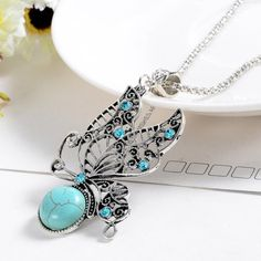 Check out Fashion Jewelry, Natural Turquoise Stone Pendant, Women lover, Valentine's Day gifts, vintage Butterfly necklaces, Vintage Style, for her on melindajewelrystore