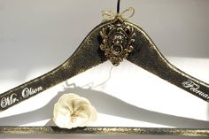 Groom hanger Groomsmen Hanger Black and Gold Hanger Wedding