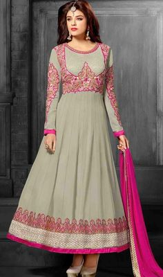 Complement your innate fascination and grace with this gray shade georgette embroidered Anarkali churidar suit. The ethnic butta, lace and resham work to your dress adds a sign of attractiveness statement for the look. #DelightfulGreyGeorgetteAnarkalChuridarDress
