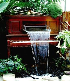 Our piano fountain is famous at Meadow View Growers.
