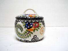 VTG Schramberg SMF Floral CONDIMENT JAR BOWL German Pottery Paisley