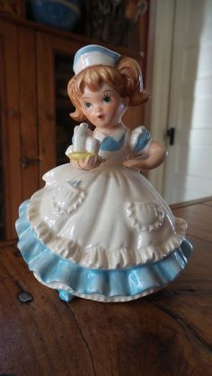 Vintage LEFTON CHINA FIGURINE Little Girl Nurse, Blue Dress, Apron, #2902  | eBay