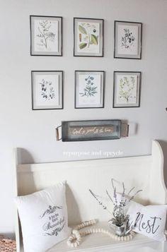 DIY Framed Botanical Prints with Free Botanical Printables Farmhouse Wall Art, Farmhouse Decor, Target Farmhouse, Red Farmhouse, Farmhouse Signs, Rustic Decor, Modern Farmhouse, Diy Wall Art, Diy Wall Decor