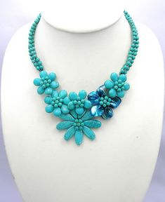 bridesmaid gifts,beadwork necklace,bib necklace,statement necklace,Beaded Jewelry,turquoise necklace