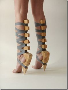 wood and straps shoes