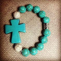 Turquoise and Bone Color Cross Bracelet by tiffanybeads on Etsy, $7.00